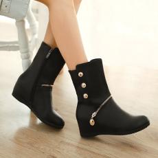 韩版冬季新款女靴简约素人短靴甜美通勤百搭防寒靴/JL/890/P6618