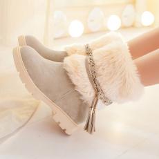 韩版日系冬季毛毛靴平底雪地靴流苏短靴女/MQ/5911/P6695