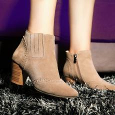 韩版秋冬真皮裸靴英伦裸色粗跟短靴牛皮女靴/KBL/825/Z6601