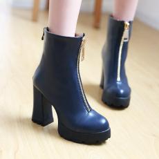 欧美秋冬经典前拉链女靴粗跟单靴个性潮美短靴/KJQ/12670-3/P6649