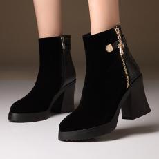 欧美秋冬新款短靴粗跟磨砂简约裸靴骑士靴/MZR/N3355/P6541