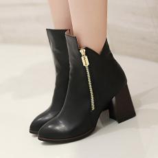 韩版秋冬蜻蜓同款短靴粗跟百搭女靴简约美靴/KJQ/6210-1/P6648