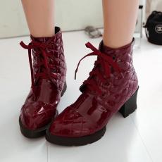 欧美冬季简约系带短靴英伦时尚单靴个性尖头短靴/JL/191/P6643