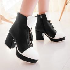 韩版时尚粗跟女靴拼色裸靴简约单靴女短靴/MZR/N2031/P6612