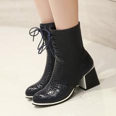 冬季新款英伦风女靴粗跟靴甜美百搭短靴/XH/D-8/P6674