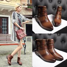英伦冬季防寒短靴尖头皮带扣真皮女靴复古牛皮靴/GD/6520/Z6624