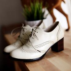 英伦新款秋鞋粗跟系带深口单鞋百搭女鞋/OD/D82/P1284